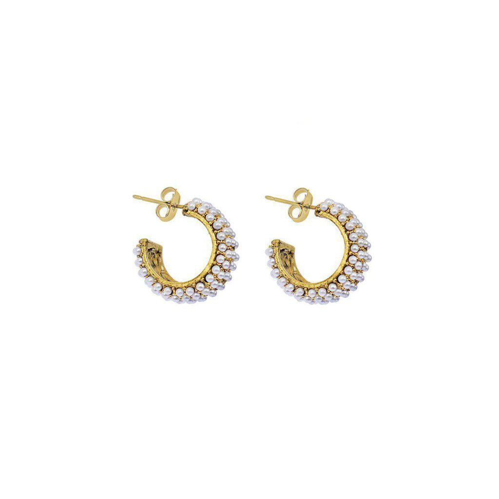 SMALL PEARL HOOP GOLD EARRINGS