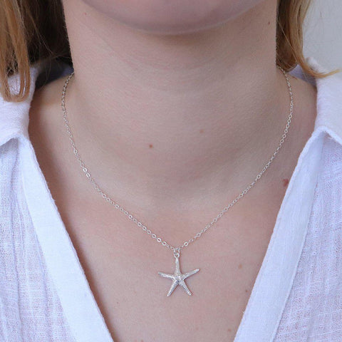 LARGE STAR FISH STERLING SILVER PENDANT