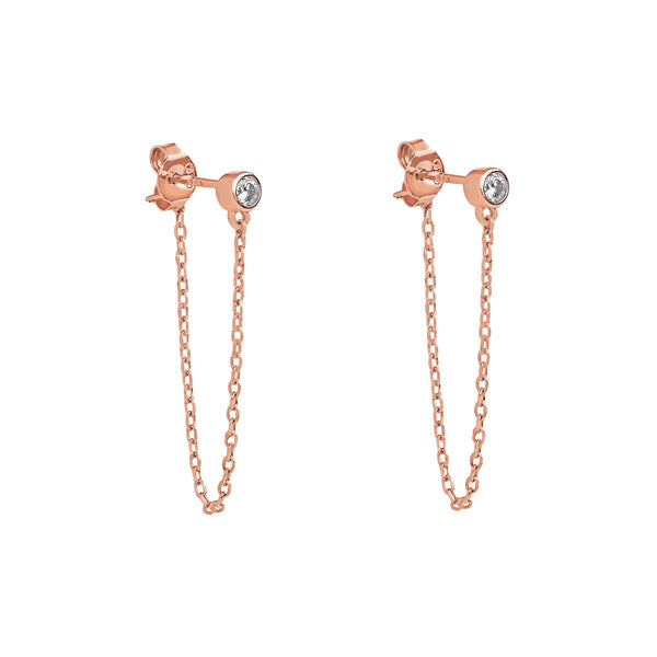 CRYSTAL THREAD DROP CHAIN ROSE GOLD EARRINGS