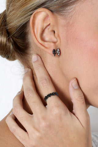 LEAF CLEAR/GUNMETAL CRYSTAL STUD EARRINGS-Earrings-MEZI