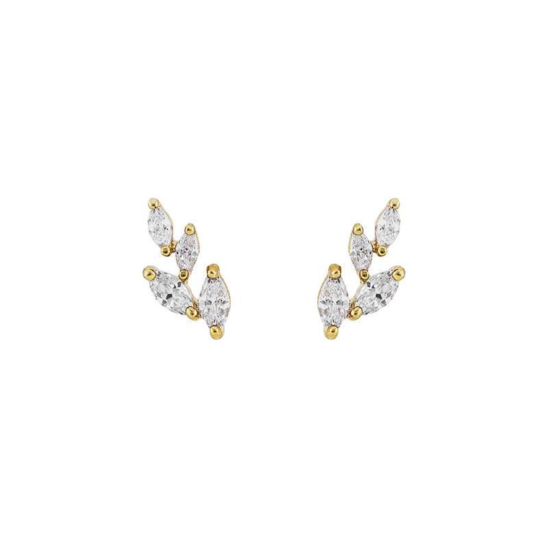 LEAF GOLD CRYSTAL STUD EARRINGS