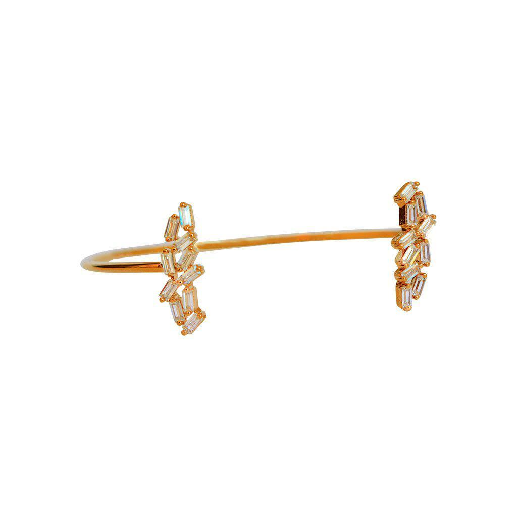 LEAF ROSE GOLD CRYSTAL CUFF BRACELET