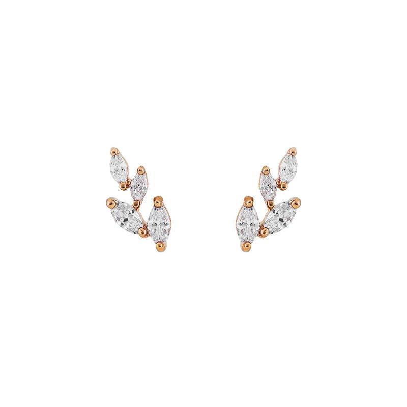 LEAF ROSE GOLD CRYSTAL STUD EARRINGS