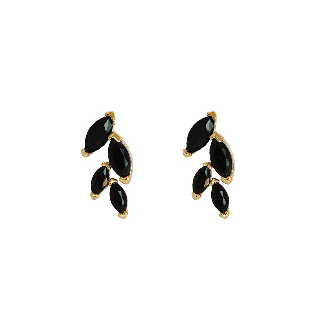LEAF BLACK GOLD CRYSTAL STUD EARRINGS