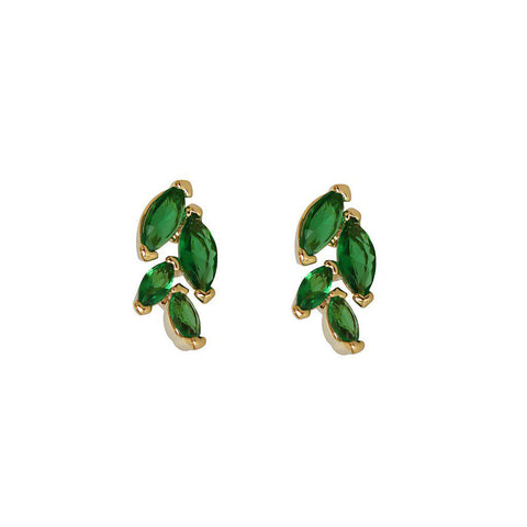 LEAF GREEN GOLD CRYSTAL STUD EARRINGS