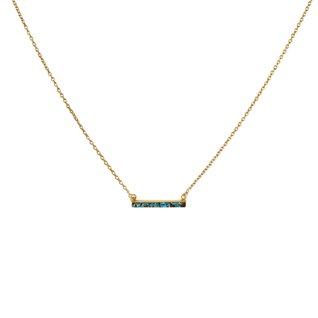 LEA LARGE GOLD FILLED TURQUOISE SEMI PRECIOUS NECKLACE