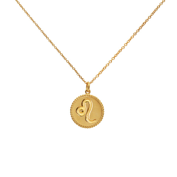 leo star sign gold necklace