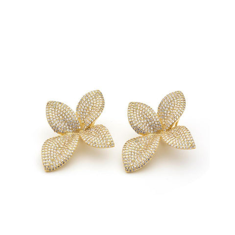 LIA FLOWER GOLD CRYSTAL EARRINGS-Earrings-MEZI