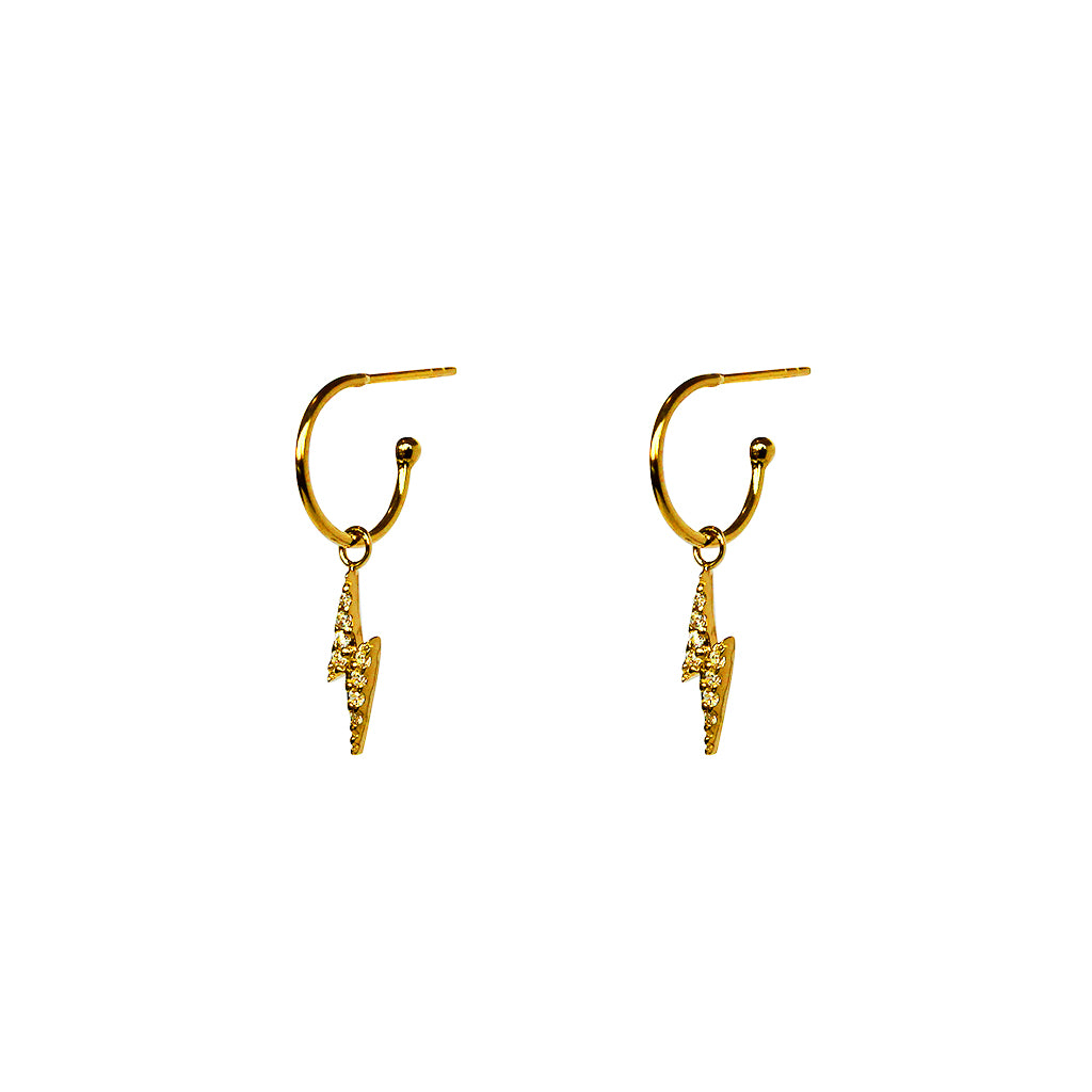 LIGHTNING BOLT 1 MICRON GOLD HOOP DROP EARRINGS