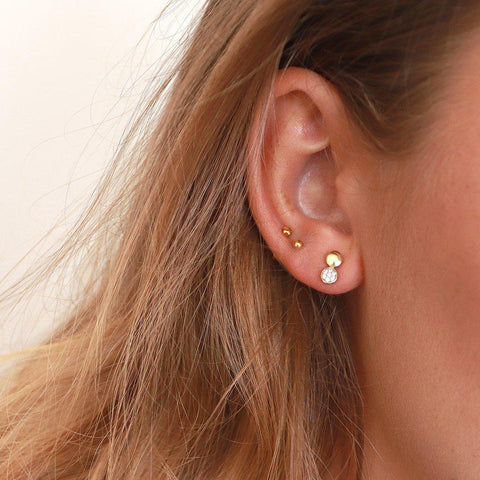 LILJA CRYSTAL GOLD PLATED STUDS