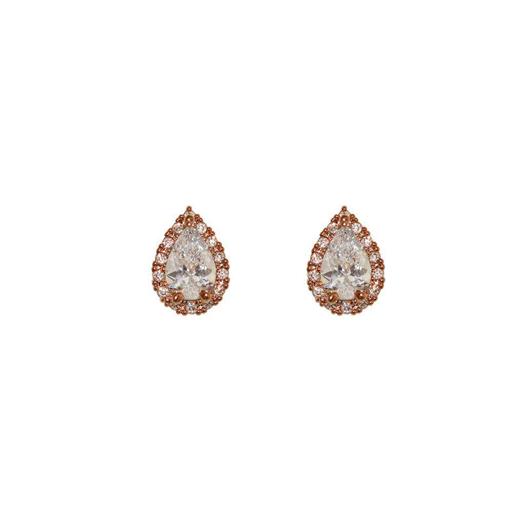 LINNEA ROSE GOLD TEAR DROP CRYSTAL STUD EARRING