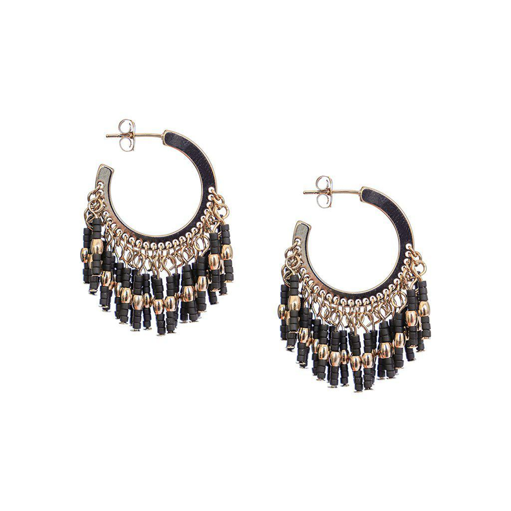 LIRA BLACK BEADS HOOPS EARRINGS