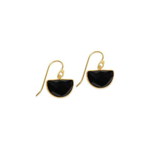 LITA DROP BLACK ONYX GOLD EARRINGS