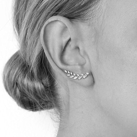 LORENA SILVER CRYSTAL CRAWLERS-Earrings-MEZI