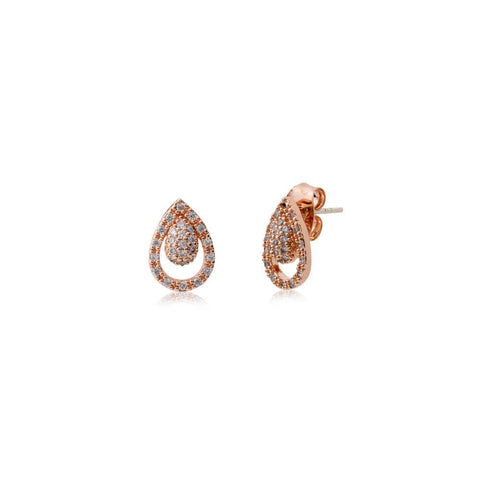 LUIS ROSE GOLD TEAR DROP STUDS-Earrings-MEZI