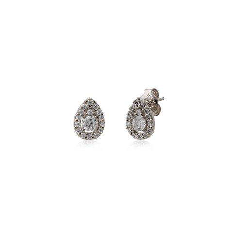 LUISA SILVER TEAR DROP STUD-Earrings-MEZI