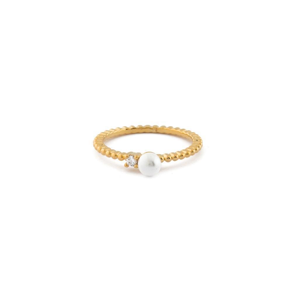 LUNA PEARL CRYSTAL GOLD RING