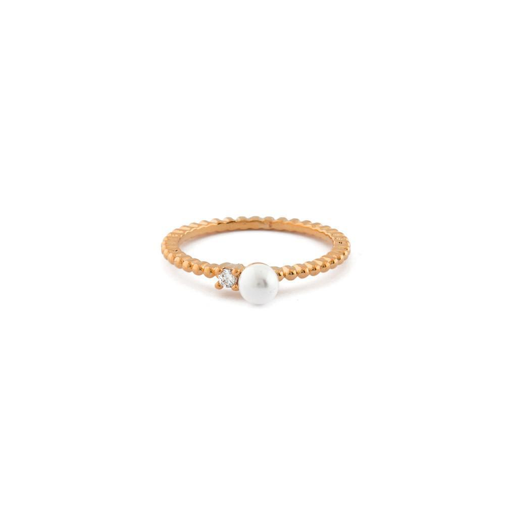 LUNA PEARL CRYSTAL ROSE GOLD RING