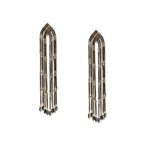 LYN CRYSTAL DROP BLACK EARRINGS
