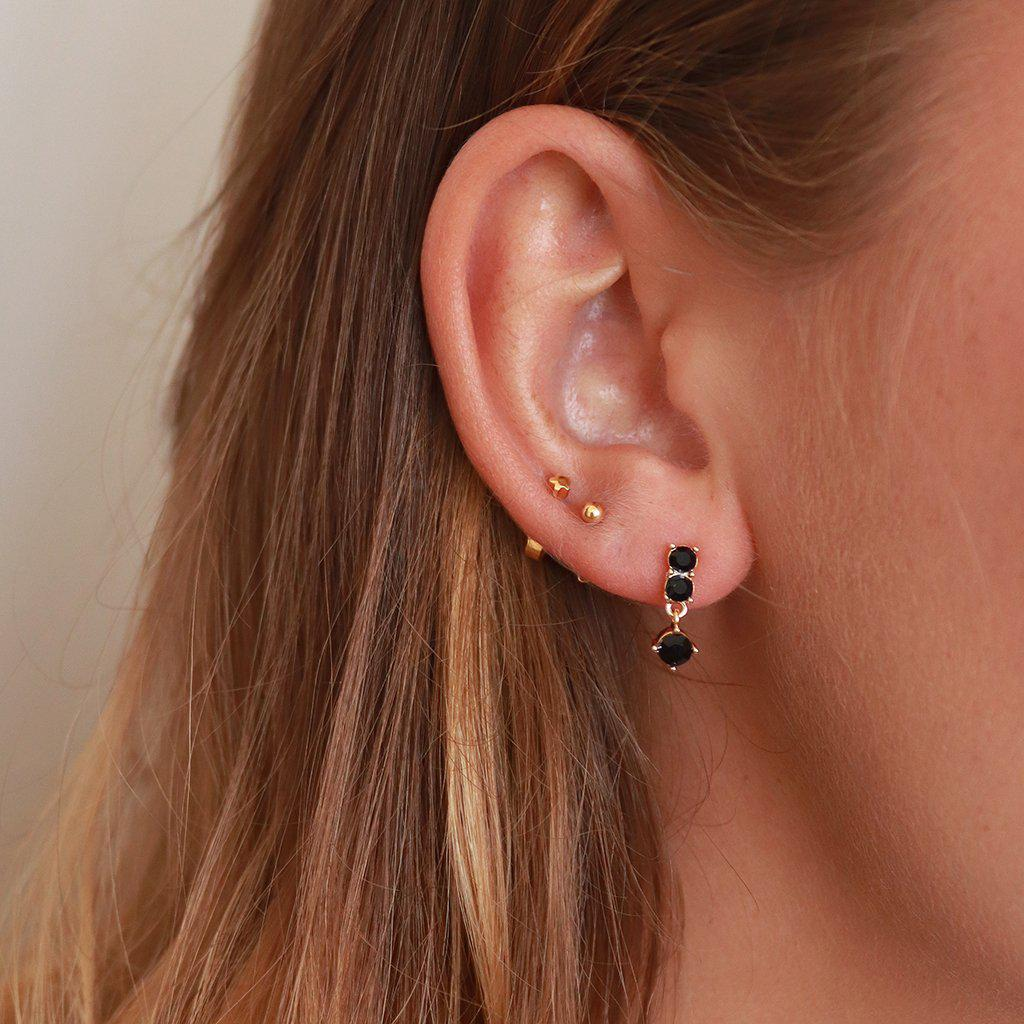 LYRA BLACK CRYSTALS GOLD PLATED DROP STUDS
