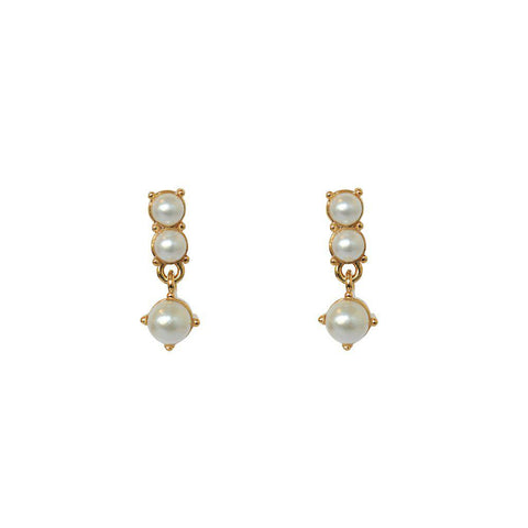 LYRA PEARL GOLD PLATED DROP STUDS
