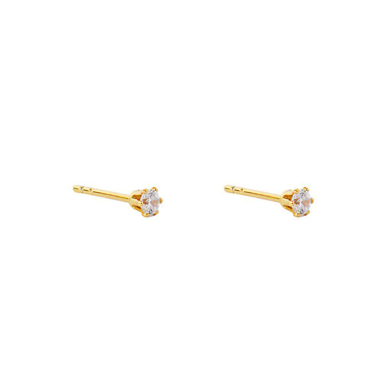 MABEL II 3MM CRYSTAL GOLD STUD EARRINGS