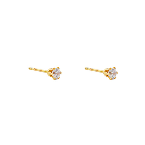 MABEL II 4MM CRYSTAL GOLD STUD EARRINGS