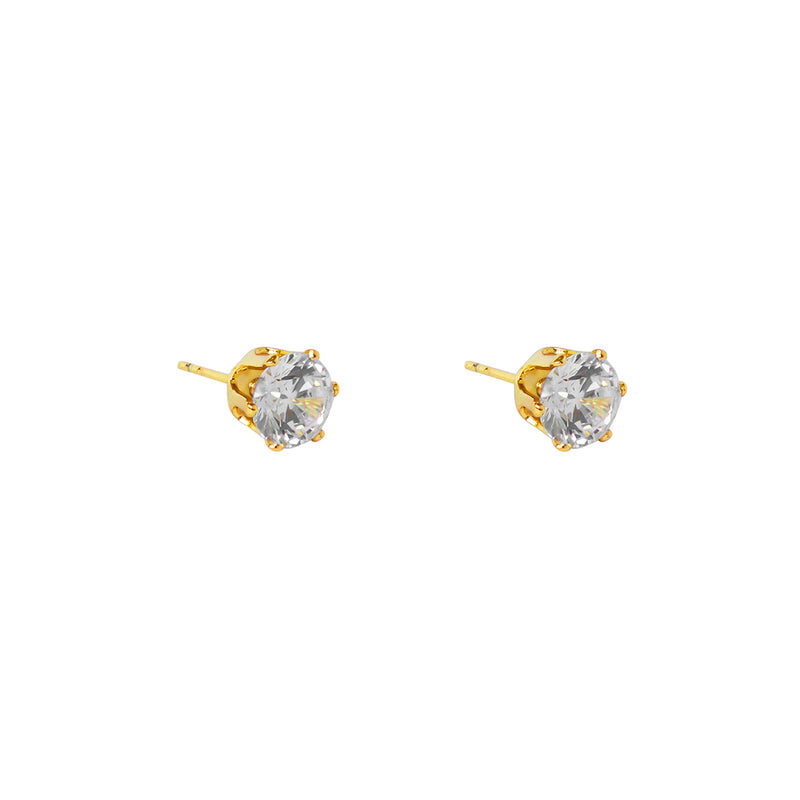 MABEL II 8MM CRYSTAL GOLD BASE STUDS