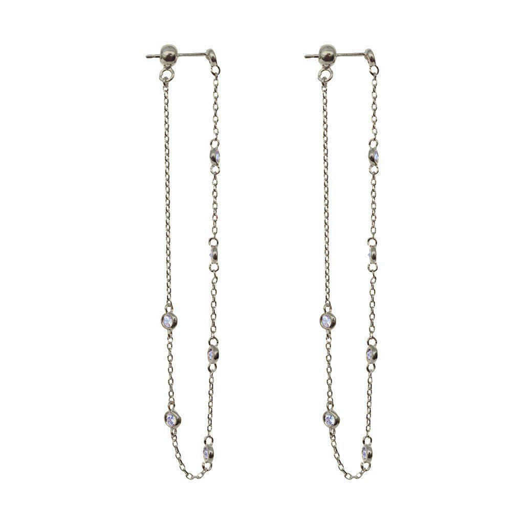MADDIE CRYSTAL DROP THREAD EARRINGS