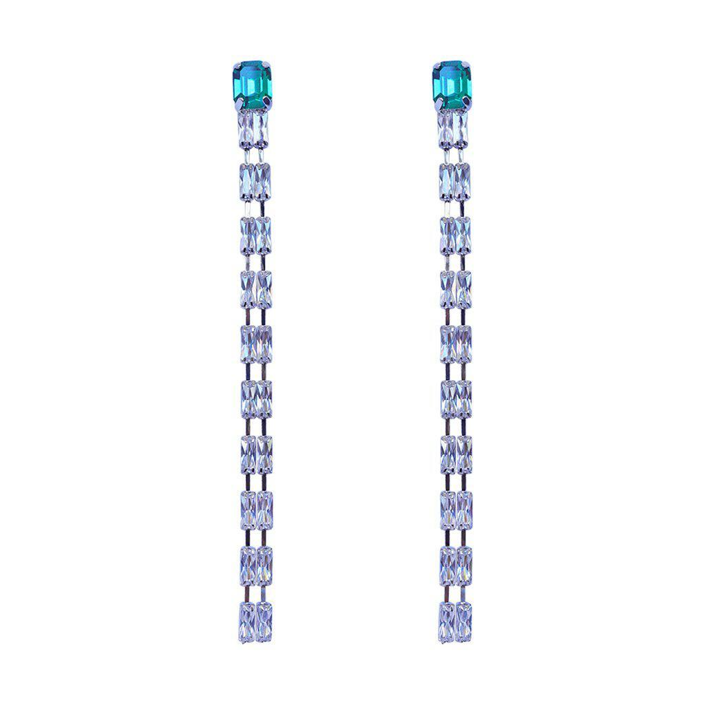 MADHAVI SILVER CRYSTAL EARRINGS