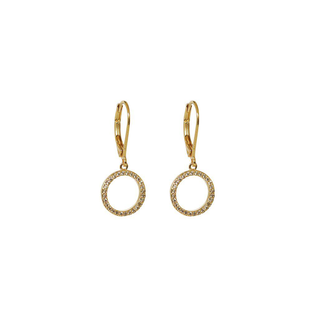 MAILLIE CIRCLE HOLLOW CRYSTAL HOOK EARRINGS