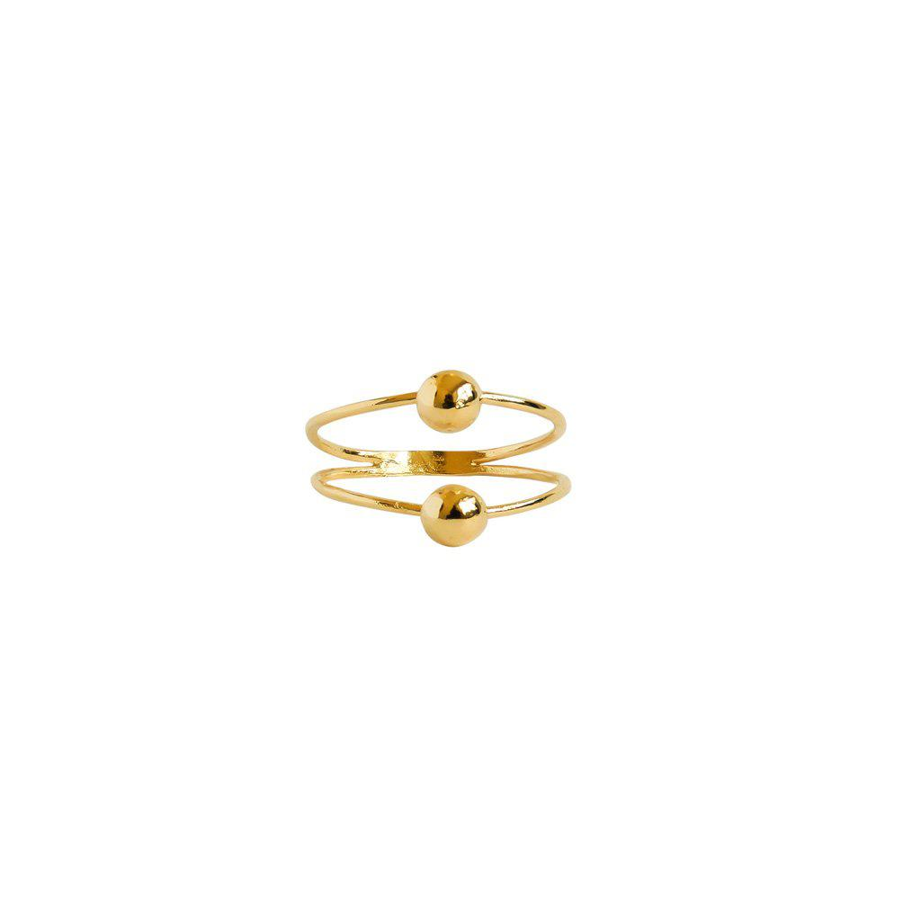 MAL DOUBLE BALL 2 MICRON GOLD RING