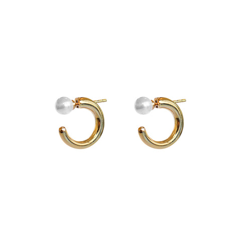 MALIA FRESHWATER PEARL 2 MICRON GOLD HOOP EARRINGS