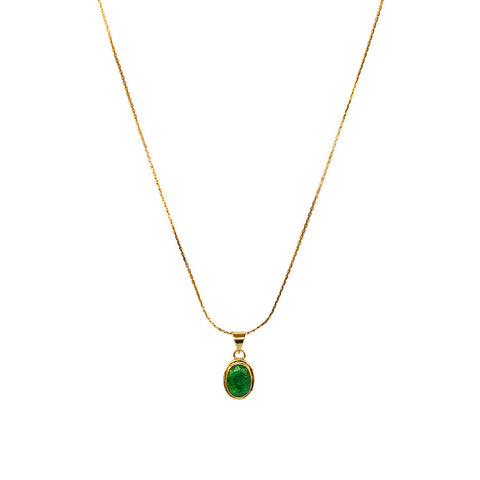 MAISIE CUT EMERALD OVAL GOLD FILLED SEMI PRECIOUS PENDANT