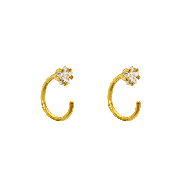 Marj 1 Micron Gold Crystal Moon Shape Earrings
