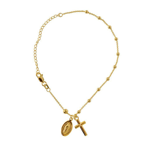 MARY AND CROSS GOLD BRACELET