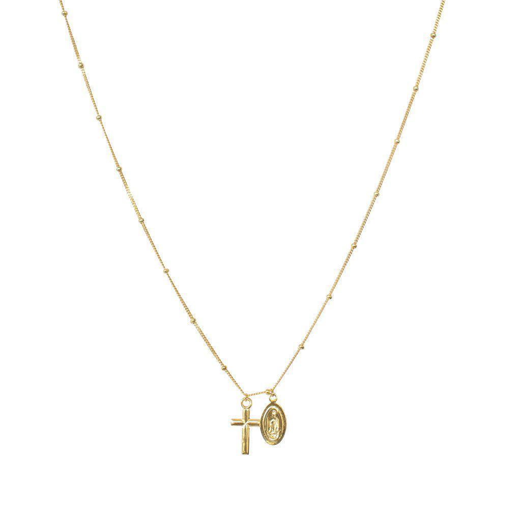 MARY AND CROSS GOLD NECKLACE