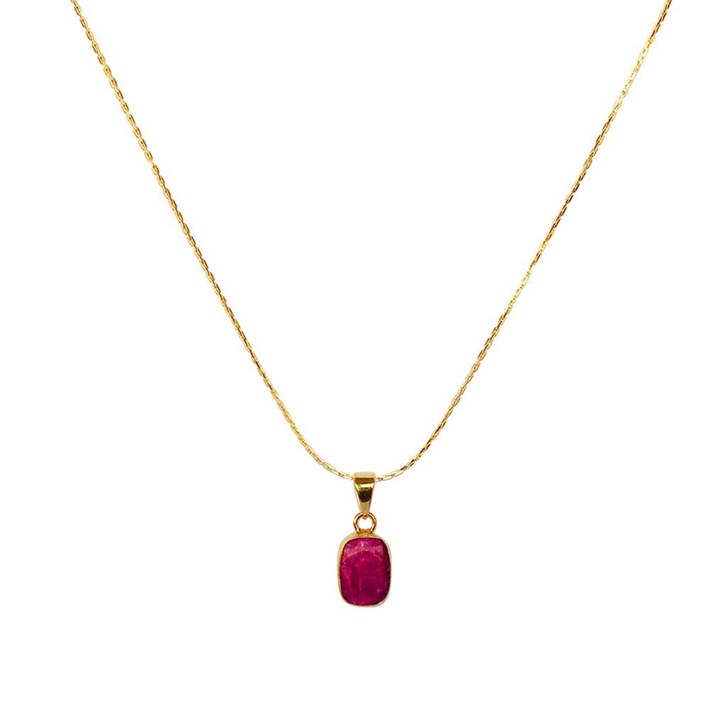 MAVIS ROUGH RUBY RECTANGLE GOLD FILLED SEMI PRECIOUS PENDANT