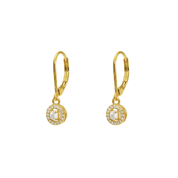 MERRA GOLD FILLED ROUND CRYSTAL DROP HOOK EARRINGS