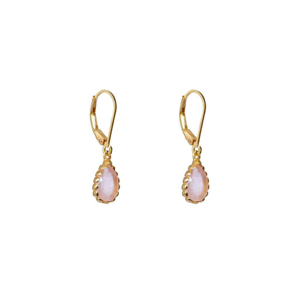 MIA ROSE QUARTZ SEMI-PRECIOUS 2 MICRON GOLD EARRINGS