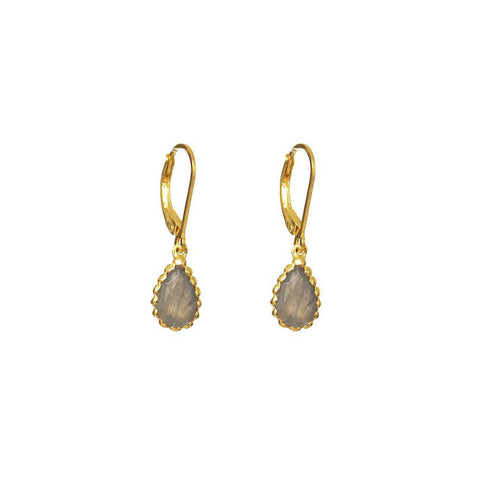 MIA LABRADORITE SEMI-PRECIOUS 2 MICRON GOLD EARRINGS