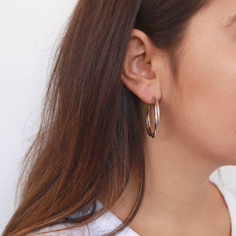 MILAH GOLD AND SILVER HOOPS EARRINGS