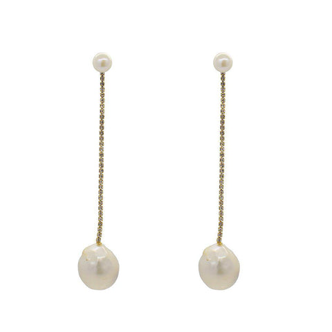MIRA LARGE GOLD FRESHWATER PEARL DROP EARRINGS