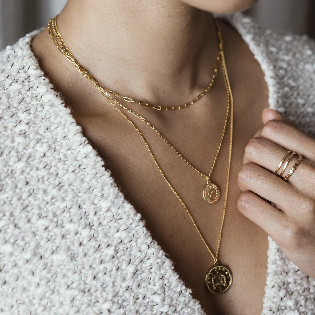 MOLLY COIN TRIPLE LAYERS GOLD NECKLACE