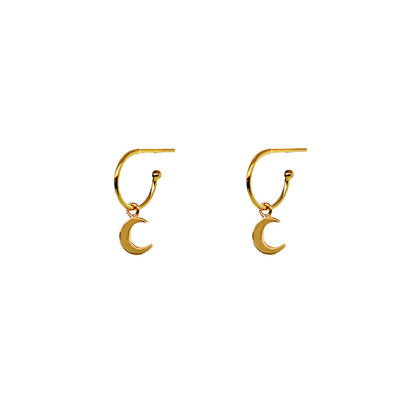 MOON 1 MICRON GOLD HOOP DROP EARRINGS