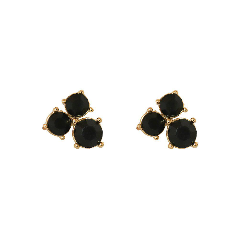 MORGAN BLACK CRYSTALS GOLD PLATED STUDS
