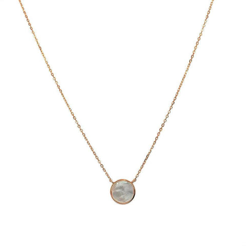 MOTHER PEARL PENDANT ROSE GOLD NECKLACE