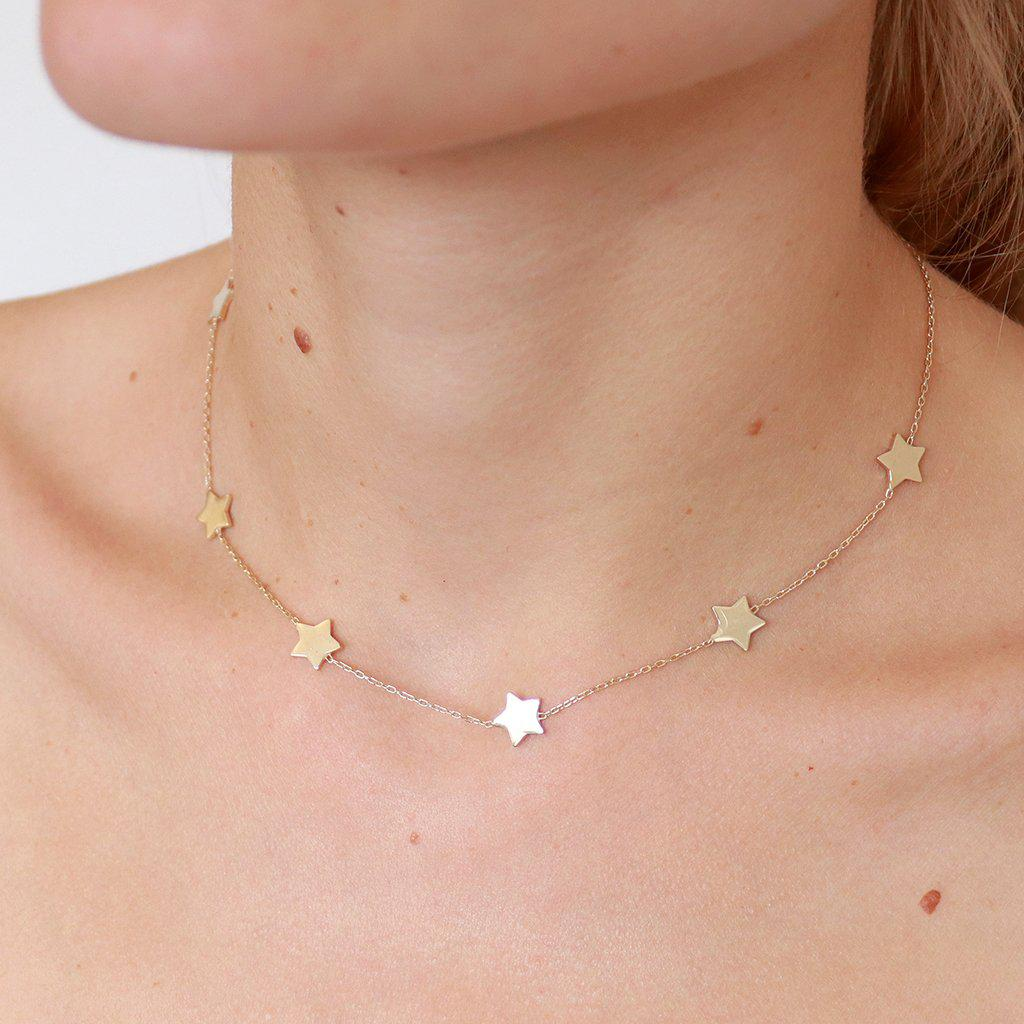 MULTI STAR PLAIN GOLD NECKLACE