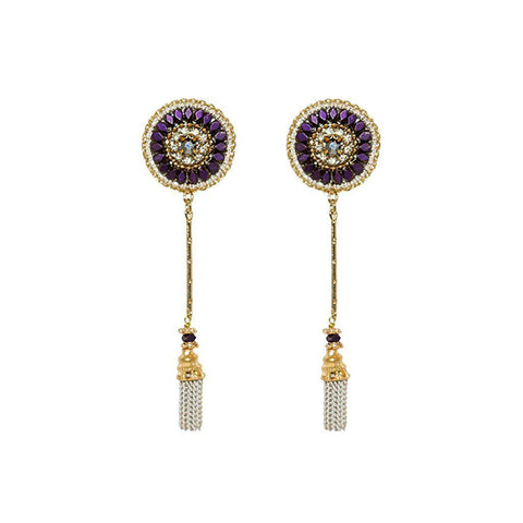 NABILA MAROON SEMI-PRECIOUS CRYSTAL EARRINGS