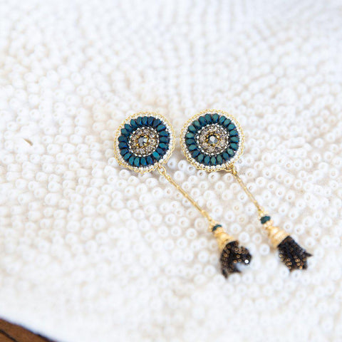 NABILA TURQUOISE SEMI-PRECIOUS CRYSTAL EARRINGS